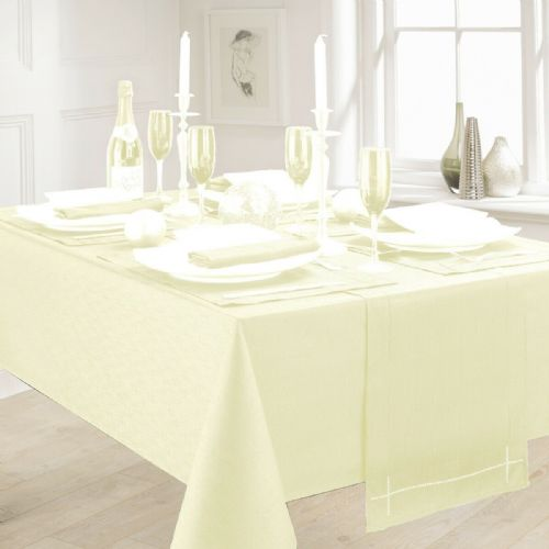 LINEN LOOK PLAIN SLUBBED XMAS CHRISTMAS TABLECLOTH OR RUNNERS DINNER PARTY LINEN IVORY CREAM